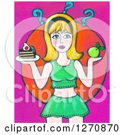 Clipart Of A Canvas Painting Of A Blond Caucasian Woman Deciding On A Cake Or Apple Royalty Free Illustration