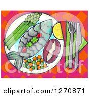 Clipart Of A Canvas Painting Of A Meal With Fish And Vegetables Royalty Free Illustration by Maria Bell