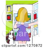 Canvas Painting Of A Rear View Of A Blond Caucasian Woman And Dog Staring Into The Fridge