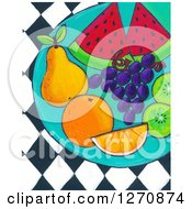 Clipart Of A Canvas Painting Of A Plate Of Healthy Fruit Over Diamonds Royalty Free Illustration