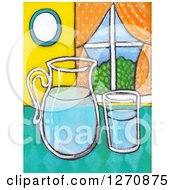 Clipart Of A Canvas Painting Of A Glass And Pitcher Of Water On A Counter Royalty Free Illustration