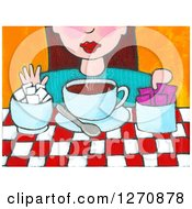 Clipart Of A Canvas Painting Of A Brunette Caucasian Woman Adding Sugar To Her Tea Or Coffee Royalty Free Illustration