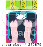 Clipart Of A Canvas Painting Of A Womans Feet On A Scale Royalty Free Illustration
