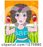 Clipart Of A Canvas Painting Of A Curly Haired Brunette Caucasian Woman Working Out With Dumbbells Royalty Free Illustration by Maria Bell