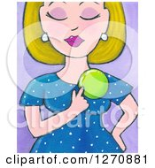 Canvas Painting Of A Blond Caucasian Woman Pointing To A Weight Loss Badge