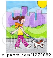 Clipart Of A Canvas Painting Of A Brunette Caucasian Woman Walking Her Dog In A City Royalty Free Illustration