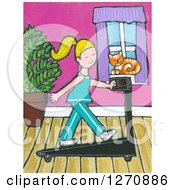 Clipart Of A Canvas Painting Of A Cat Watching A Blond Caucasian Woman Exercise On A Treadmill Royalty Free Illustration
