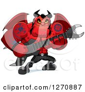 Clipart Of A Heavy Metal Devil Playing An Electric Guitar Royalty Free Vector Illustration