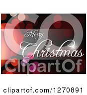 Clipart Of A White Merry Christmas Greeting And Shaded Bar Over Bokeh Lights Royalty Free Vector Illustration by dero