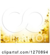 Clipart Of A Christmas Background With A Yellow And Gold Star Border Under Text Space Royalty Free Vector Illustration by dero