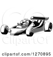 Clipart Of A Black And White Race Car And Driver Facing Left Royalty Free Vector Illustration