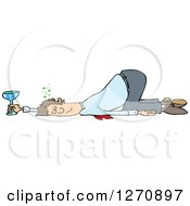 Clipart Of A Drunk White Business Man Passed Out On The Floor With His Butt Up In The Air Royalty Free Vector Illustration by djart