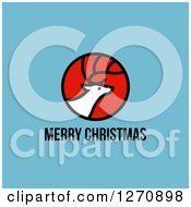 Clipart Of A Merry Christmas Greeting Under An Elk Or Reindeer On Blue Royalty Free Vector Illustration by elena