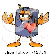 Suitcase Cartoon Character With His Heart Beating Out Of His Chest