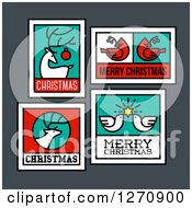 Clipart Of Christmas Greetings With A Reindeer Cardinals Doves And Elk Royalty Free Vector Illustration by elena