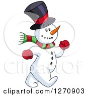 Clipart Of A Happy Snowman Speed Walking Royalty Free Vector Illustration by yayayoyo