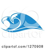Clipart Of A Blue Ocean Surf Waves 19 Royalty Free Vector Illustration