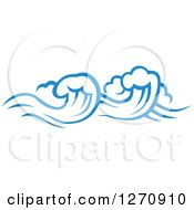 Clipart Of A Blue Ocean Surf Waves 16 Royalty Free Vector Illustration