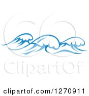 Clipart Of A Blue Ocean Surf Waves 17 Royalty Free Vector Illustration