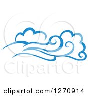 Clipart Of A Blue Ocean Surf Waves 24 Royalty Free Vector Illustration