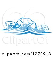 Clipart Of A Blue Ocean Surf Waves 15 Royalty Free Vector Illustration