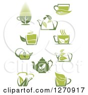 Poster, Art Print Of Two Toned Green Tea Cups Pots Kettles And Leaves