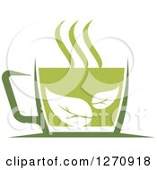 Clipart Of A Two Toned Steamy Hot Green Tea Cup And Leaves Royalty Free Vector Illustration
