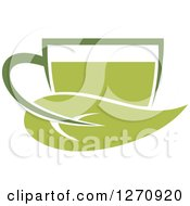Poster, Art Print Of Two Toned Steamy Hot Green Tea Cup And A Leaf Handle