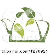 Clipart Of A Two Toned Steamy Green Tea Pot And Leaves Royalty Free Vector Illustration