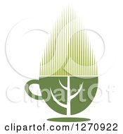 Clipart Of A Leaf Forming A Two Toned Steamy Hot Green Tea Cup Royalty Free Vector Illustration