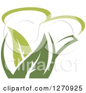 Clipart Of A Two Toned Steamy Green Tea Pot And Leaves 4 Royalty Free Vector Illustration