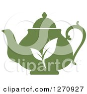 Poster, Art Print Of Two Toned Steamy Green Tea Pot And Leaves 3
