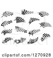 Clipart Of Black And White Tribal Checkered Racing Flags Royalty Free Vector Illustration