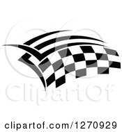 Clipart Of A Black And White Tribal Checkered Racing Flag Royalty Free Vector Illustration