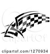 Clipart Of A Black And White Tribal Checkered Racing Flag 6 Royalty Free Vector Illustration