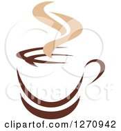 Clipart Of A Two Toned Tan And Brown Steamy Coffee Cup 16 Royalty Free Vector Illustration