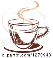 Clipart Of A Two Toned Tan And Brown Steamy Coffee Cup 17 Royalty Free Vector Illustration