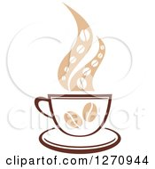 Clipart Of A Two Toned Tan And Brown Steamy Coffee Cup With Beans Royalty Free Vector Illustration