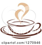 Clipart Of A Two Toned Tan And Brown Steamy Coffee Cup 18 Royalty Free Vector Illustration