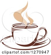 Clipart Of A Two Toned Tan And Brown Steamy Coffee Cup 19 Royalty Free Vector Illustration