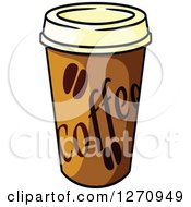 Clipart Of A Take Out Coffee Cup Royalty Free Vector Illustration