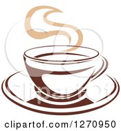 Clipart Of A Two Toned Tan And Brown Steamy Coffee Cup 15 Royalty Free Vector Illustration