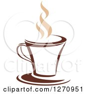Clipart Of A Two Toned Tan And Brown Steamy Coffee Cup 14 Royalty Free Vector Illustration