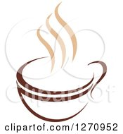 Clipart Of A Two Toned Tan And Brown Steamy Coffee Cup 22 Royalty Free Vector Illustration