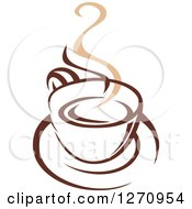 Clipart Of A Two Toned Tan And Brown Steamy Coffee Cup 20 Royalty Free Vector Illustration