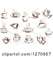 Clipart Of Two Toned Tan And Brown Steamy Coffee Cups And Pots Royalty Free Vector Illustration