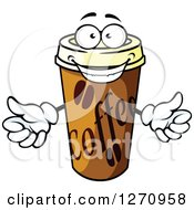 Clipart Of A Happy Take Out Coffee Cup Character Royalty Free Vector Illustration