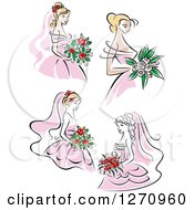 Clipart Of Brides In Pink Dresses Royalty Free Vector Illustration