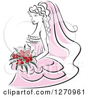 Clipart Of A Black And White Bride In A Pink Dress With Red Flowers Royalty Free Vector Illustration