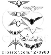 Clipart Of Black And White Wings Heart And Sword Royalty Free Vector Illustration